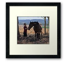 First Encounters of the Neighing Kind Framed Print