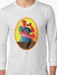 Carpenter Striking Hammer Chisel Retro Long Sleeve T-Shirt