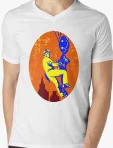 Construction Worker Hoist Pulley Retro Mens V-Neck T-Shirt