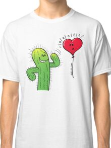 Cactus Flirting with a Heart Balloon Classic T-Shirt