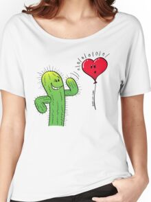 Cactus Flirting with a Heart Balloon Women's Relaxed Fit T-Shirt