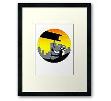 Construction Worker I-Beam Girder Retro Framed Print