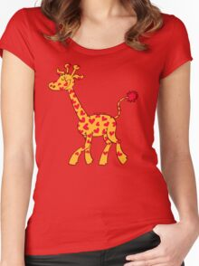 Red Heart Spotted Giraffe Women's Fitted Scoop T-Shirt
