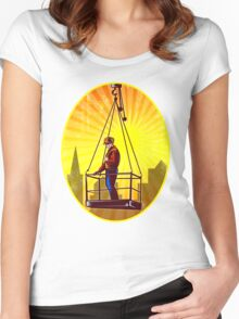 Construction Worker Platform Retro Women's Fitted Scoop T-Shirt