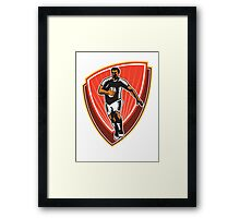 Rugby Player Running Ball Front Woodcut Framed Print