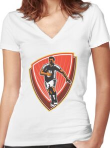 Rugby Player Running Ball Front Woodcut Women's Fitted V-Neck T-Shirt