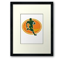 Rugby Player Running Ball Silhouette Framed Print