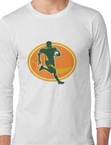 Rugby Player Running Ball Silhouette Long Sleeve T-Shirt