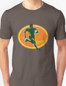 Rugby Player Running Ball Silhouette Unisex T-Shirt