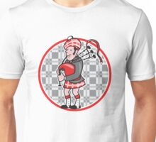 Scotsman Bagpiper Playing Bagpipes Cartoon Unisex T-Shirt