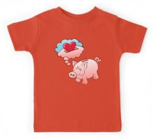 Piggy Bank Daydreaming of Hearts instead of Coins Kids Tee