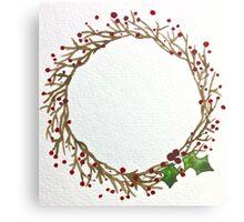 Christmas Berry Wreath Canvas Print
