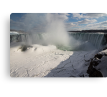 Niagara Falls Ice Buildup Panorama - Canadian Horseshoe Falls, Ontario, Canada Canvas Print