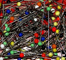 Glass ball straight pins by Arie Koene