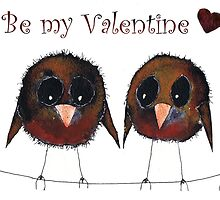 VALENTINES BIRDS IN LOVE  by Hares and Critters
