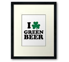 I love green beer shamrock Framed Print