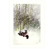 Pandas In The Snow Art Print