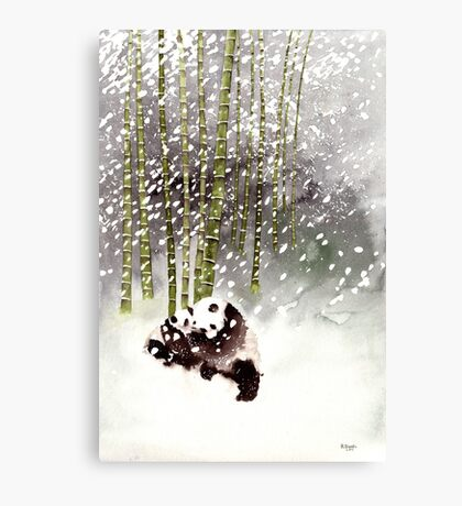 Pandas In The Snow Canvas Print