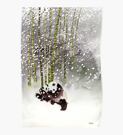 Pandas In The Snow Poster