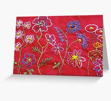 Embroidered flowers Greeting Card