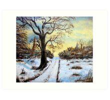 Bright Snow under the tree. Art Print