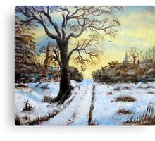 Bright Snow under the tree. Canvas Print