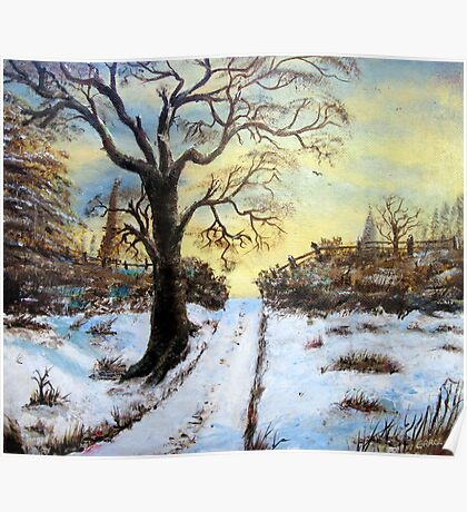 Bright Snow under the tree. Poster