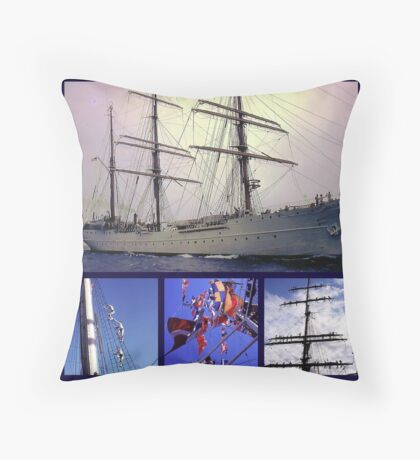 America's tall ship, The Eagle (collage) Throw Pillow
