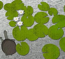 Water lilies with Florida Soft-shell Turtle by Janet Carlson