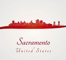 Sacramento skyline in red by paulrommer