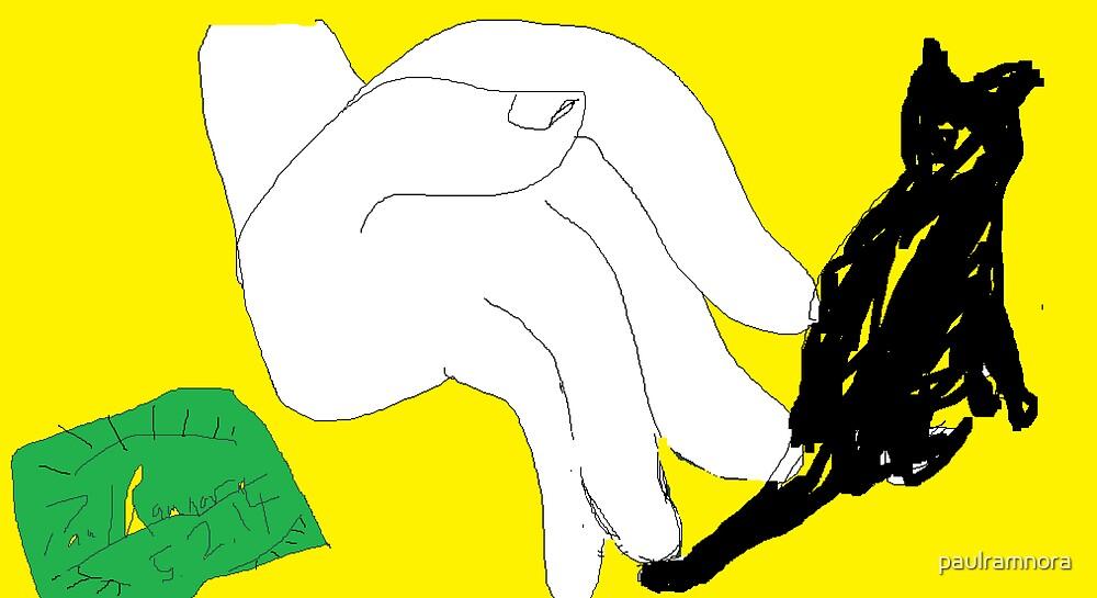 Hand stroking cat -(050214)- Digital artwork/MS Paint by paulramnora