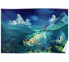"Caribbean Seascape with Tarpon & Shark - ""A Place I Would Rather Be"" Poster"