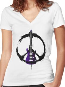 Peace Music Guitar Women's Fitted V-Neck T-Shirt