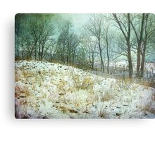 Trees Sky and Snow Fence   Metal Print