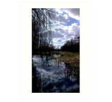 Sky Blue & White Reflections Art Print