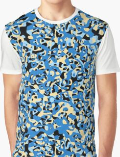 Multi Layer Abstract Pattern Blue/Cream Graphic T-Shirt