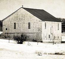 White barn in the white snow by vigor