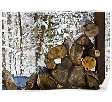 Small Stack of Wood in Snow Poster