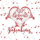 Be My Valentine Red Glitter Heart And Text Design by artonwear