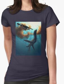 Krill feeding plesiosaurs Womens Fitted T-Shirt