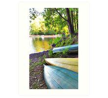 Kayaks and Canoes around lake Art Print