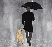 Dog walk in rain  by Janet Carlson