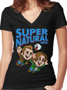 Super Natural Bros Women's Fitted V-Neck T-Shirt