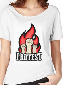 raised fist held in protest Women's Relaxed Fit T-Shirt