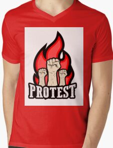 raised fist held in protest Mens V-Neck T-Shirt