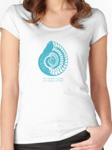 Spiral Shell with Math (blue) Women's Fitted Scoop T-Shirt