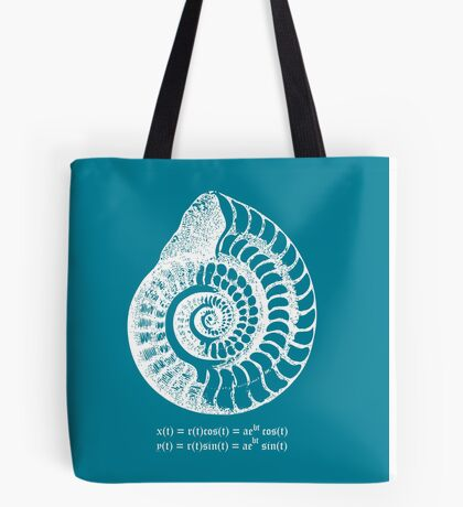 Spiral Shell with Math (blue) Tote Bag