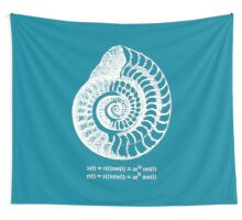 Spiral Shell with Math (blue) Wall Tapestry