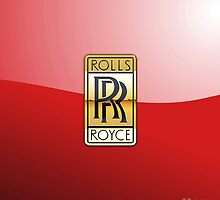Golden 3D Rolls Royce Badge-Logo on Red by Captain7