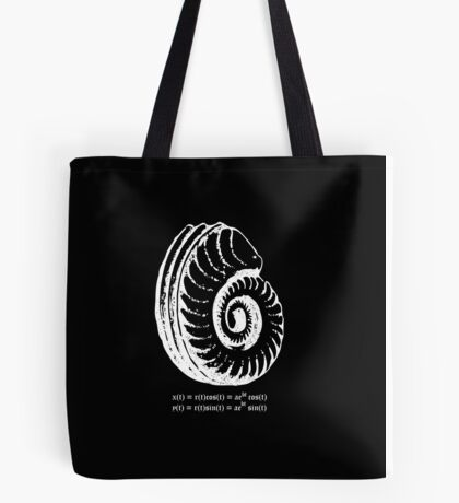 Spiral Shell with Math (white) Tote Bag